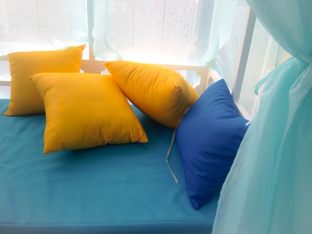 pillows on Vintage Bed