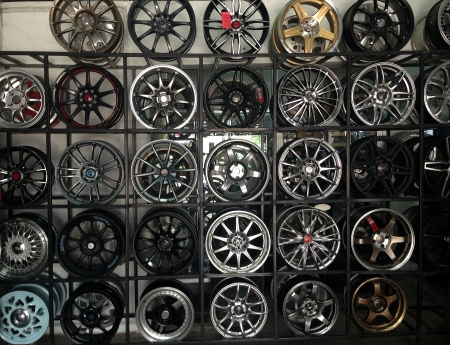 mag: Various alloy wheels Stock Photo