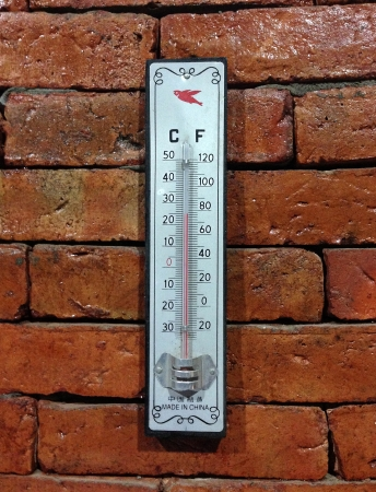 The celsius fahrenheit  thermometer on the wall photo