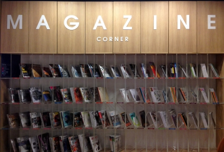 living wisdom: magazine conner in library