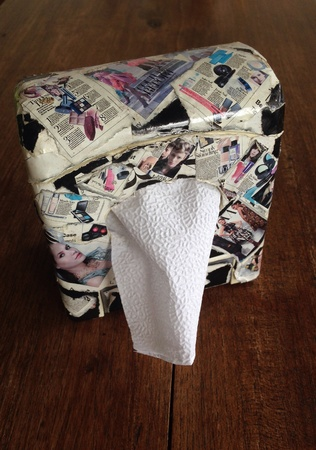 sniffles: tissue box on the wood table Stock Photo