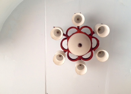 modern: chandelier on the ceiling