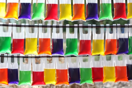 Color water in the translucent plastic bag