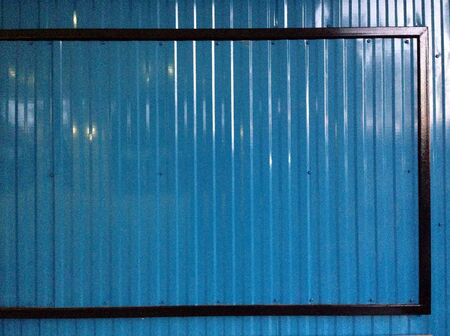 Blue color corrugated metal sheet as background Stock Photo - 23537908