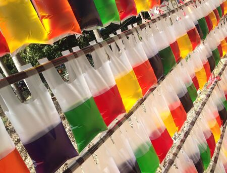 colour: Color water in the translucent plastic bag