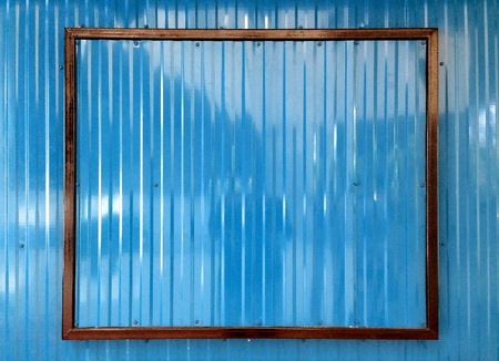steel: Blue color corrugated metal sheet as background