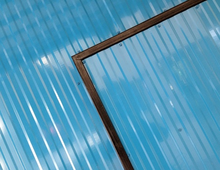 Blue color corrugated metal sheet as background Stock Photo - 23537999