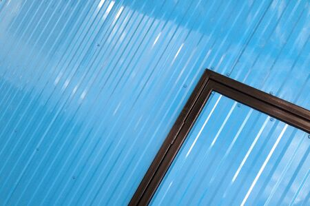 Blue color corrugated metal sheet as background Stock Photo - 23538005