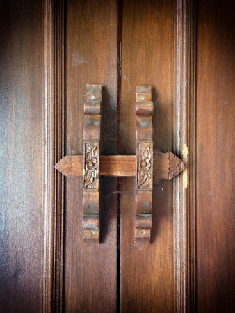 traditional textured: Traditional Thai style wooden latch