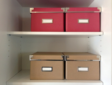 corporate archive boxes on shelf Stock Photo