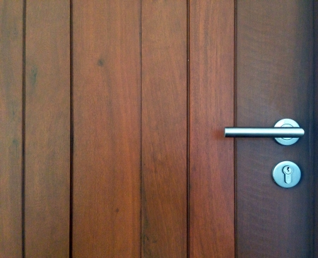 modern: Modren style door handle on natural wooden door