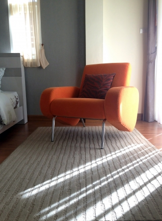 Interior, room with comfortable armchair orange Stock Photo - 23744107