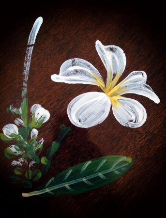 detail: flower on wooden Stock Photo