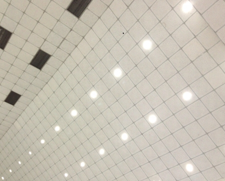 imbedded: White ceiling with built-in lamp