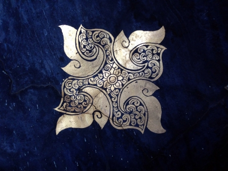 iron: Ornament of gold plated vintage floral ,thai art Style
