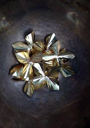 shiny metal: gold foil Stock Photo