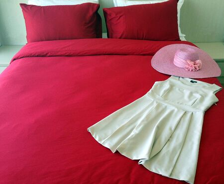 red bed with dress