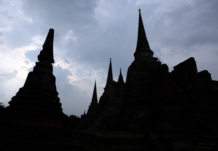 Silhouette Ancient Buddhist stupa in Temple, Ayutthaya, Thailand