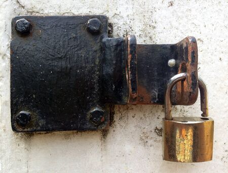 keylock: Close up of old rusty keylock on dooor