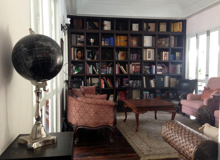 Home library with arm chair