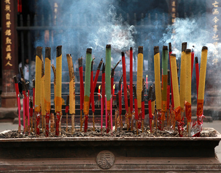 Chinese incenses in a buddhist temple in China Stock Photo