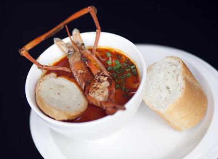 Fusion Food, Fettuccine in Red Curry   Big Prawn  photo