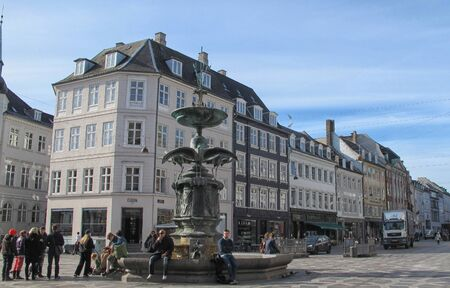 prince of denmark: Stork Fountain on Amagertorv  It was a present to Prince Frederik and Princess Louise in connection with silver wedding in 1894 in Copenhagen, Denmark  Editorial