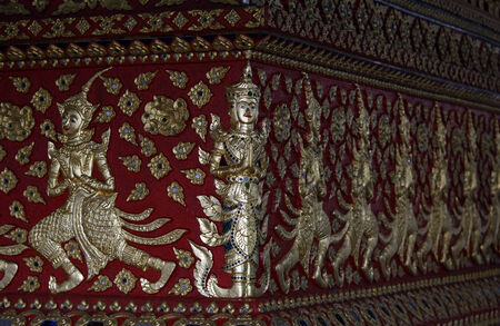 stucco colorful pattern thai style photo