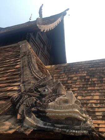The stucco , thai style on the roof