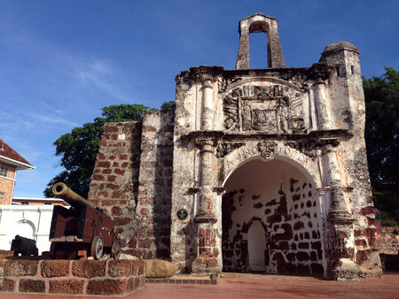 The old architecture of the A Famosa Portuguese fort in Melaca, Malaysia