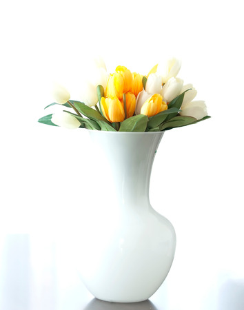 Beautiful and delicate bouquet of tulips in a vase