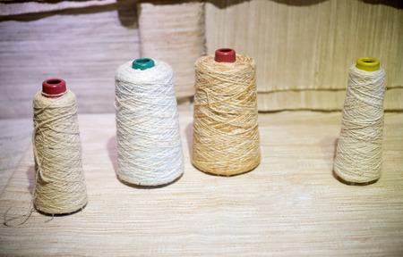 cotton thread: Bobbins of color cotton thread on background