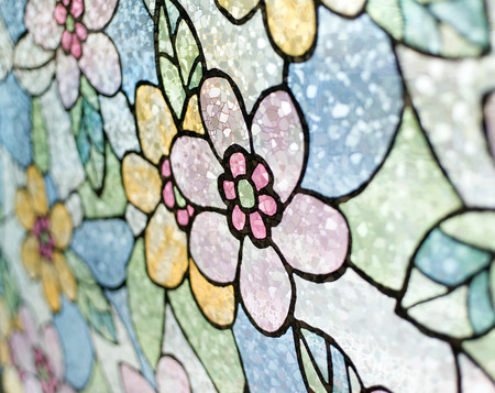 abstract flowers, stained glass window