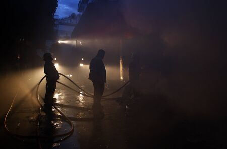 CHIANG MAI, THAILAND MAY 17: Fire in Warehouses - catch fire in warehouses of Sales Religious Supplies Substantial damage on May 17, 2015 in Chiang Mai, Thailand. Redaktionell