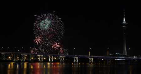 fiesta popular: International firework shows light up the sky with dazzling display near Bridge Ponte de Sai Van and Macau tower