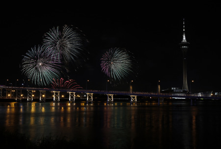 dazzling: International firework shows light up the sky with dazzling display near Bridge Ponte de Sai Van and Macau tower