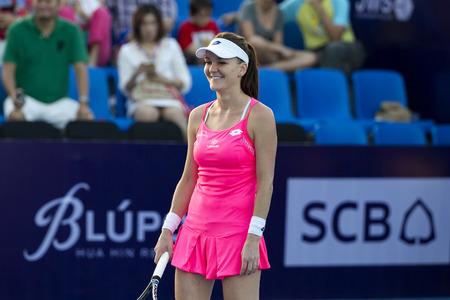 world player: Hua Hin Thailand-Dec 31:World No.5 Tennis player Aginieszka Radwanska in World Tennis Thailand Championship 2016 on December31,2015 at True Arena Hua Hin,Thailand