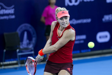 HUA HIN-JAN 1: Angelique Kerber of Germany in action during a matchof WORLD TENNIS THAILAND CHAMPIONSHIP 2016 at True Arena Hua Hin on January 1, 2016 in Hua Hin, Thailand Editorial