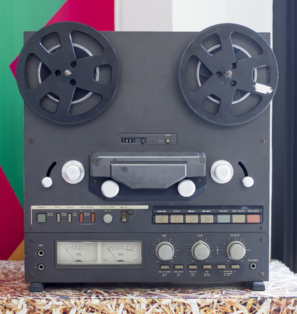 Vintage Analog Stereo Open Reel Tape Deck Recorder with large reels Stock Photo