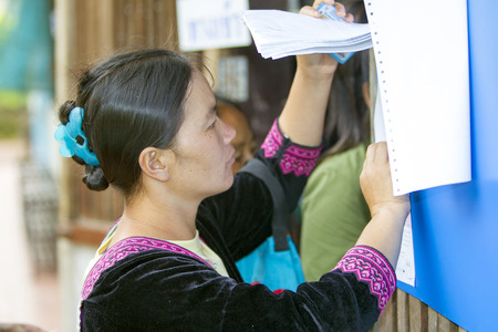military draft: CHIANG MAI, THAILAND - AUGUST 07 : Hmong hill tribe people to cast their ballots in the referendum on a new constitution at a polling station on a mountain, in Chiang Mai,Thailand,07 August 2016. Editorial