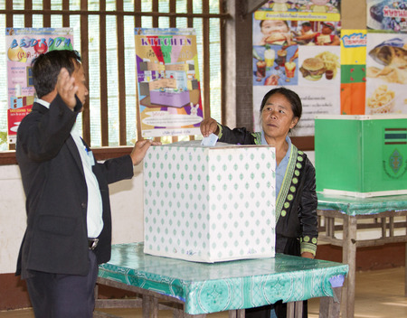 CHIANG MAI, THAILAND - AUGUST 07 : Hmong hill tribe people to cast their ballots in the referendum on a new constitution at a polling station on a mountain, in Chiang Mai,Thailand,07 August 2016. Editorial