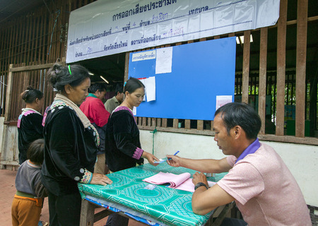 coup: CHIANG MAI, THAILAND - AUGUST 07 : Hmong hill tribe people to cast their ballots in the referendum on a new constitution at a polling station on a mountain, the first polling in the country after the May 2014 military coup, in Chiang Mai,Thailand,07 Augus