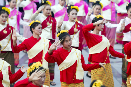 CHIANG MAI, THAILAND - APRIL 11 ,2016 : Folk Dance and contemporary dance Chiang Mai 720th Anniversary Celebrations exhibition at Three King Monument in Chiang Mai, Thailand, 11 April 2016.
