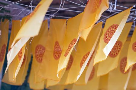 Thammachak flag in temple