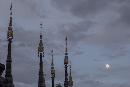 pagoda and full moon