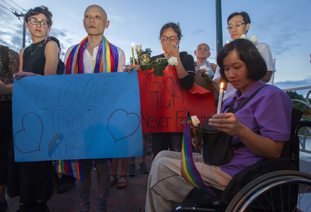 CHIANG MAI, THAILAND - JUNE 14: Memorial for Orlando shooting victims outside the United States Consulate in Chiang Mai, Thailand, 14 June 2016. Editorial