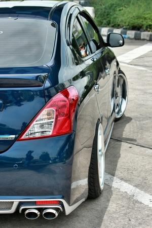 chrome: Blue ECO car VIP Style Stock Photo
