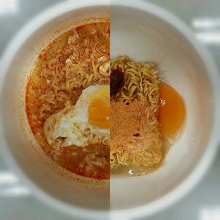 instant noodles: Instant noodles before after Stock Photo