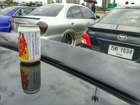 chrome: Car Reflections and Beer Stock Photo