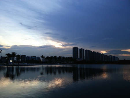 Sunset and Lake. Stock Photo
